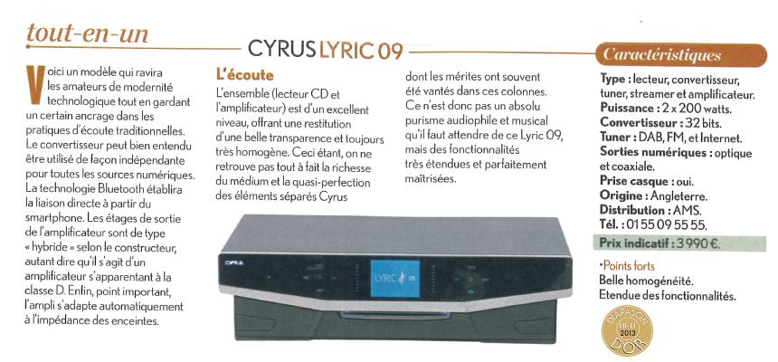 CYRUS Lyric - Sistem audio All In One hi-end
