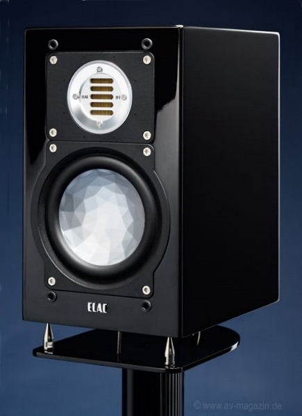 ELAC BS 243 on LS 70 stand black high gloss
