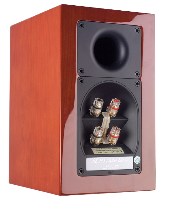 ELAC BS 243 LIMITED EDITION cherry veneer high gloss finish - back view