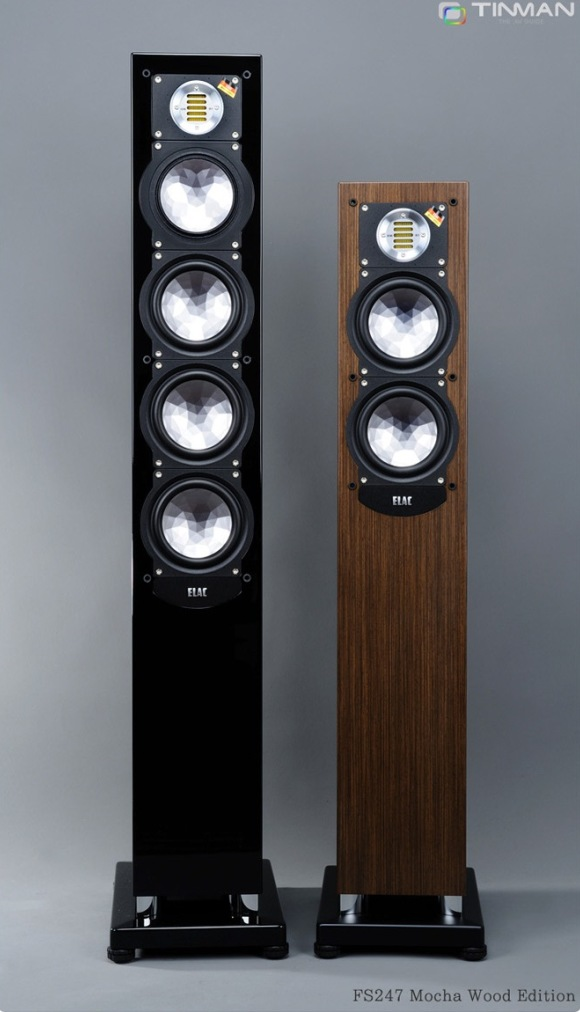 ELAC FS 248 black high gloss and FS 247 mocha veneer side by side