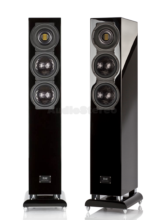 ELAC FS 507 VX-JET black high gloss finish front and side view